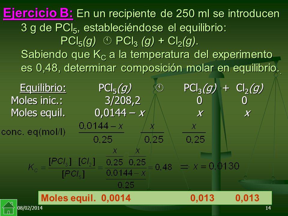 08/02/201414 Ejercicio B: En un recipiente de 250 ml se introducen 3 g de PCl 5, estableciéndose el equilibrio: PCl 5 (g) PCl 3 (g) + Cl 2 (g).