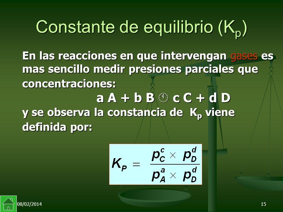 08/02/201415 Constante de equilibrio (K p ) En las reacciones en que intervengan gases es mas sencillo medir presiones parciales que concentraciones: a A + b B c C + d D y se observa la constancia de K p viene definida por: