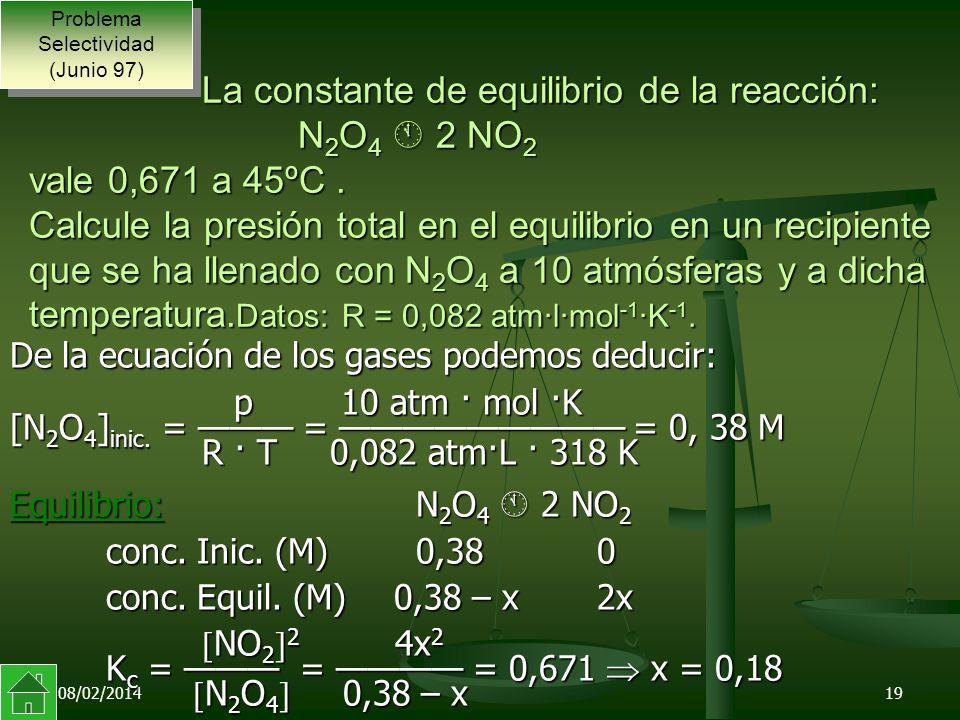 08/02/201419 De la ecuación de los gases podemos deducir: p 10 atm · mol ·K [N 2 O 4 ] inic.
