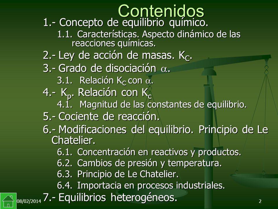 08/02/20142 Contenidos 1.- Concepto de equilibrio químico.
