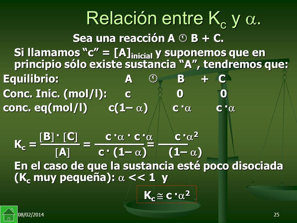 08/02/201425 Relación entre K c y.Sea una reacción A B + C.