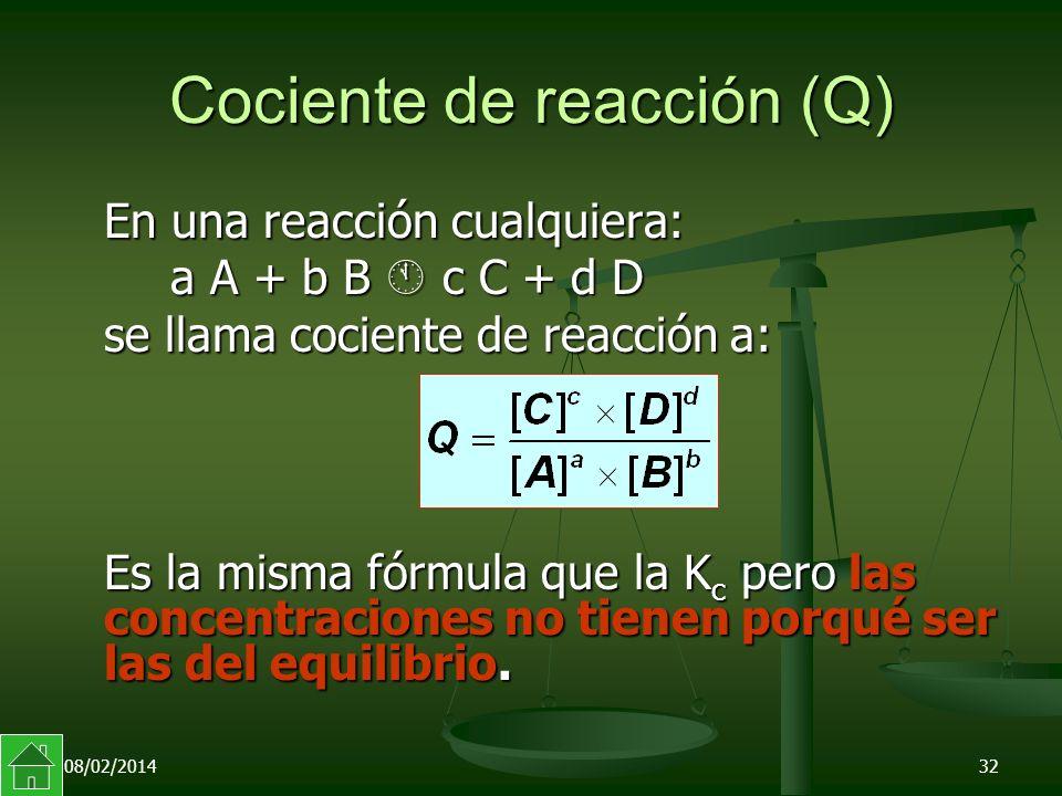 08/02/201432 Cociente de reacción (Q) En una reacción cualquiera: a A + b B c C + d D se llama cociente de reacción a: Es la misma fórmula que la K c pero las concentraciones no tienen porqué ser las del equilibrio.