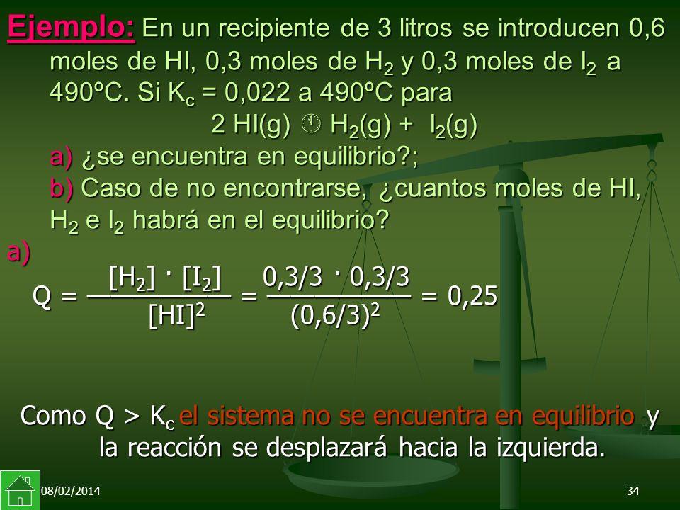 08/02/201434 Ejemplo: En un recipiente de 3 litros se introducen 0,6 moles de HI, 0,3 moles de H 2 y 0,3 moles de I 2 a 490ºC.