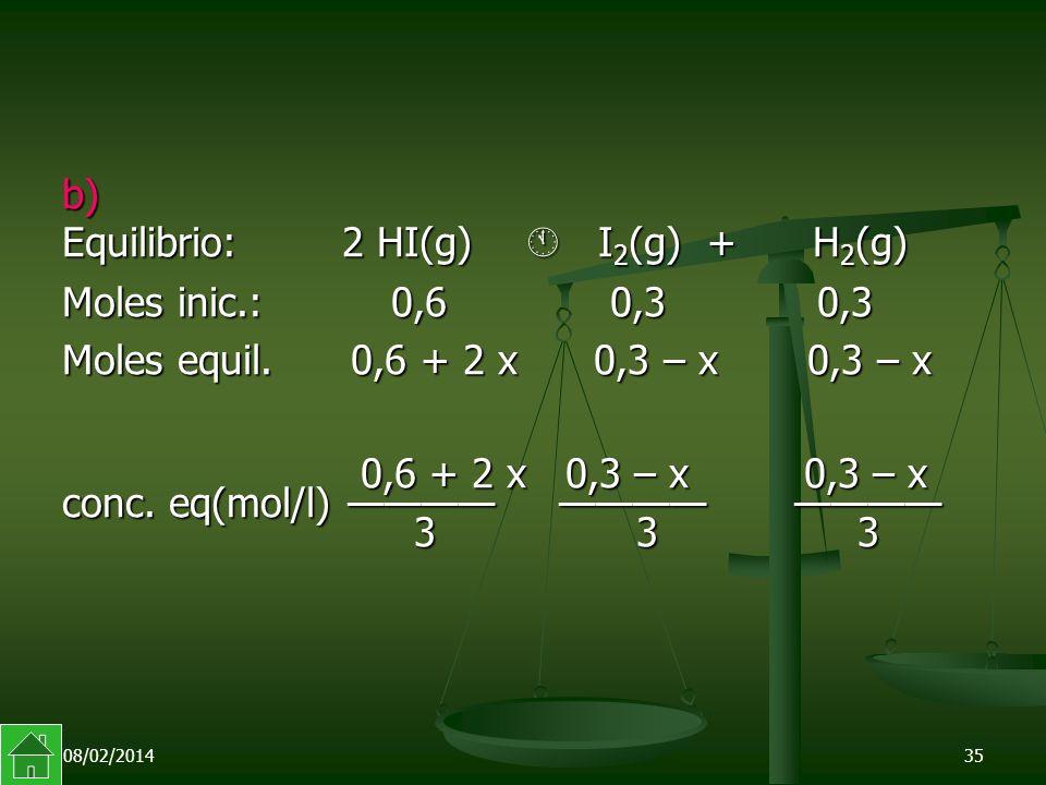 08/02/201435 b) Equilibrio: 2 HI(g) I 2 (g) + H 2 (g) Moles inic.: 0,6 0,3 0,3 Moles equil.
