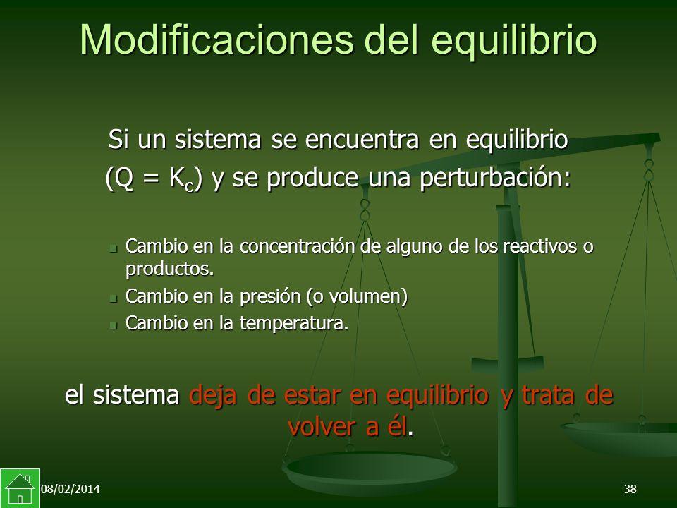 08/02/201438 Modificaciones del equilibrio Si un sistema se encuentra en equilibrio (Q = K c ) y se produce una perturbación: Cambio en la concentración de alguno de los reactivos o productos.