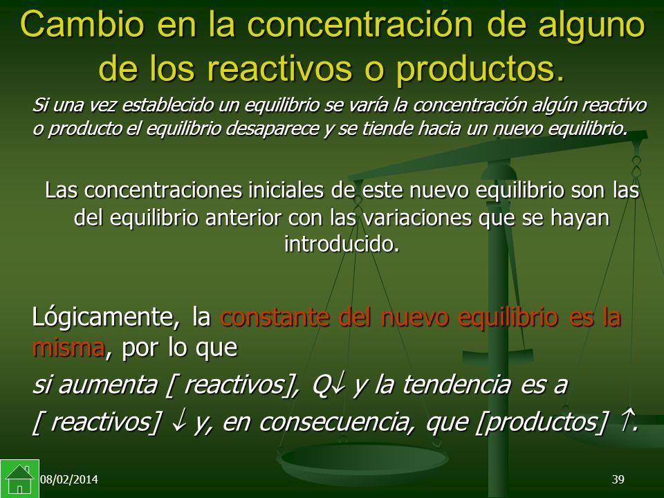 08/02/201439 Cambio en la concentración de alguno de los reactivos o productos.
