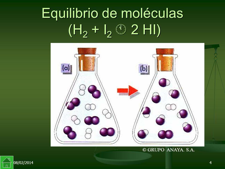 08/02/20144 Equilibrio de moléculas (H 2 + I 2 2 HI) © GRUPO ANAYA. S.A.