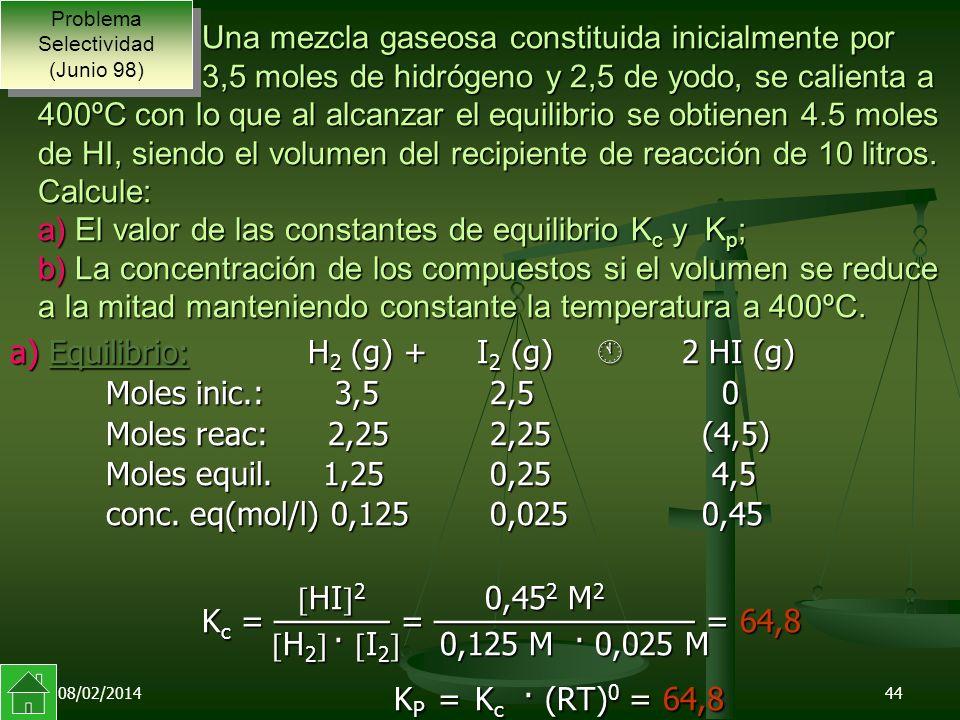 08/02/201444 Una mezcla gaseosa constituida inicialmente por 3,5 moles de hidrógeno y 2,5 de yodo, se calienta a 400ºC con lo que al alcanzar el equilibrio se obtienen 4.5 moles de HI, siendo el volumen del recipiente de reacción de 10 litros.