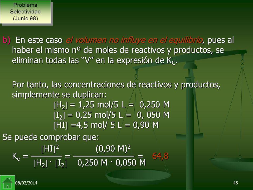 08/02/201445 b) En este caso el volumen no influye en el equilibrio, pues al haber el mismo nº de moles de reactivos y productos, se eliminan todas las V en la expresión de K C.