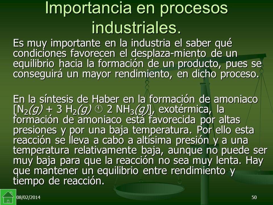 08/02/201450 Importancia en procesos industriales.
