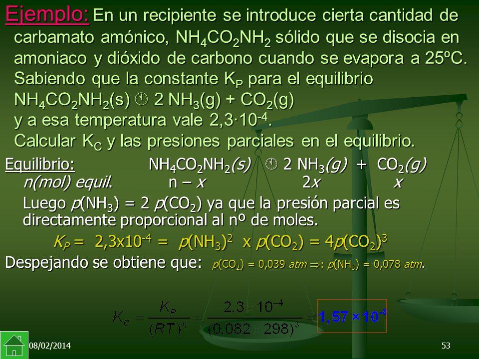 08/02/201453 Ejemplo: En un recipiente se introduce cierta cantidad de carbamato amónico, NH 4 CO 2 NH 2 sólido que se disocia en amoniaco y dióxido de carbono cuando se evapora a 25ºC.