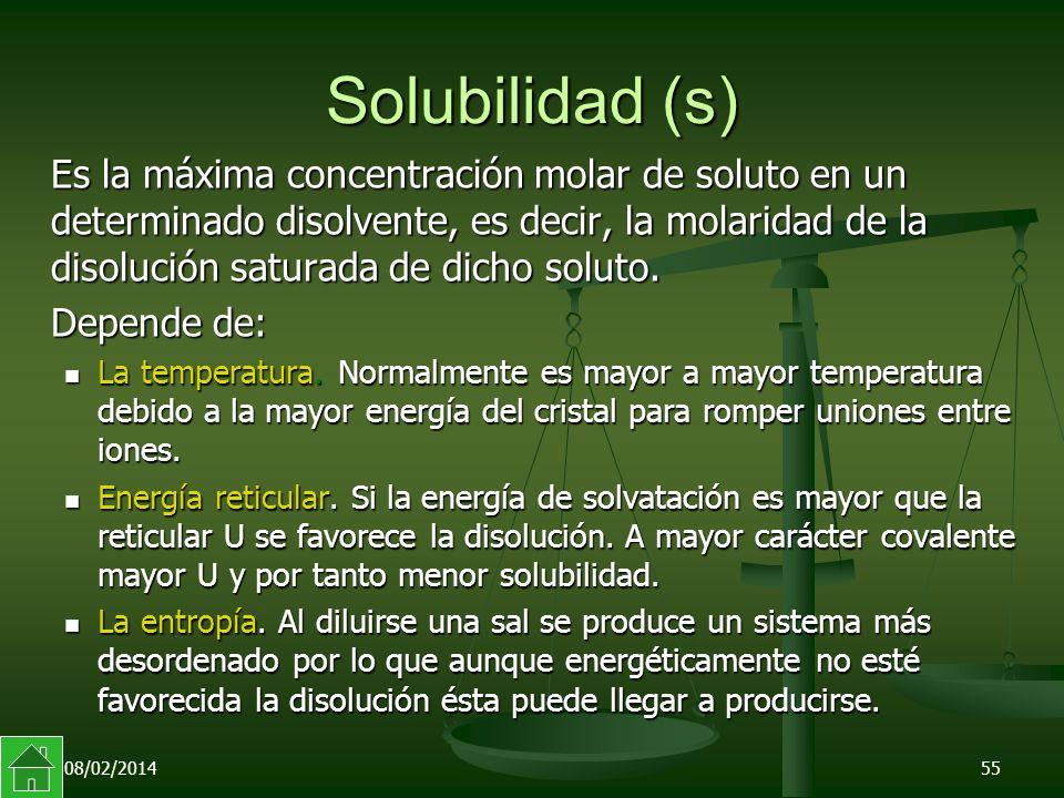 08/02/201455 Solubilidad (s) Es la máxima concentración molar de soluto en un determinado disolvente, es decir, la molaridad de la disolución saturada de dicho soluto.
