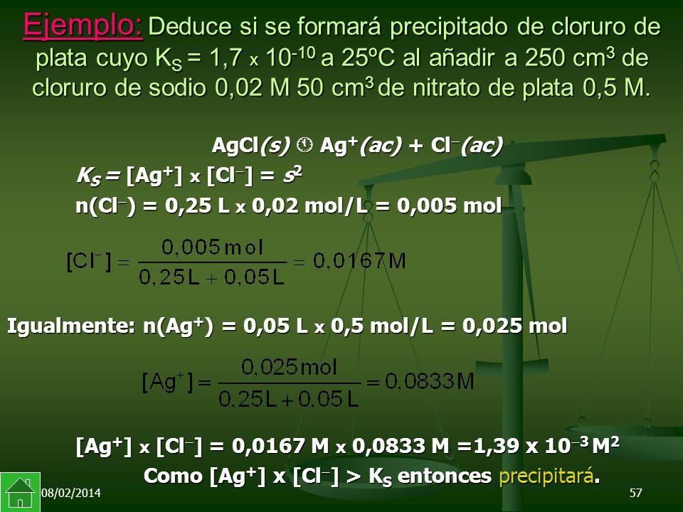 08/02/201457 Ejemplo: Deduce si se formará precipitado de cloruro de plata cuyo K S = 1,7 x 10 -10 a 25ºC al añadir a 250 cm 3 de cloruro de sodio 0,02 M 50 cm 3 de nitrato de plata 0,5 M.