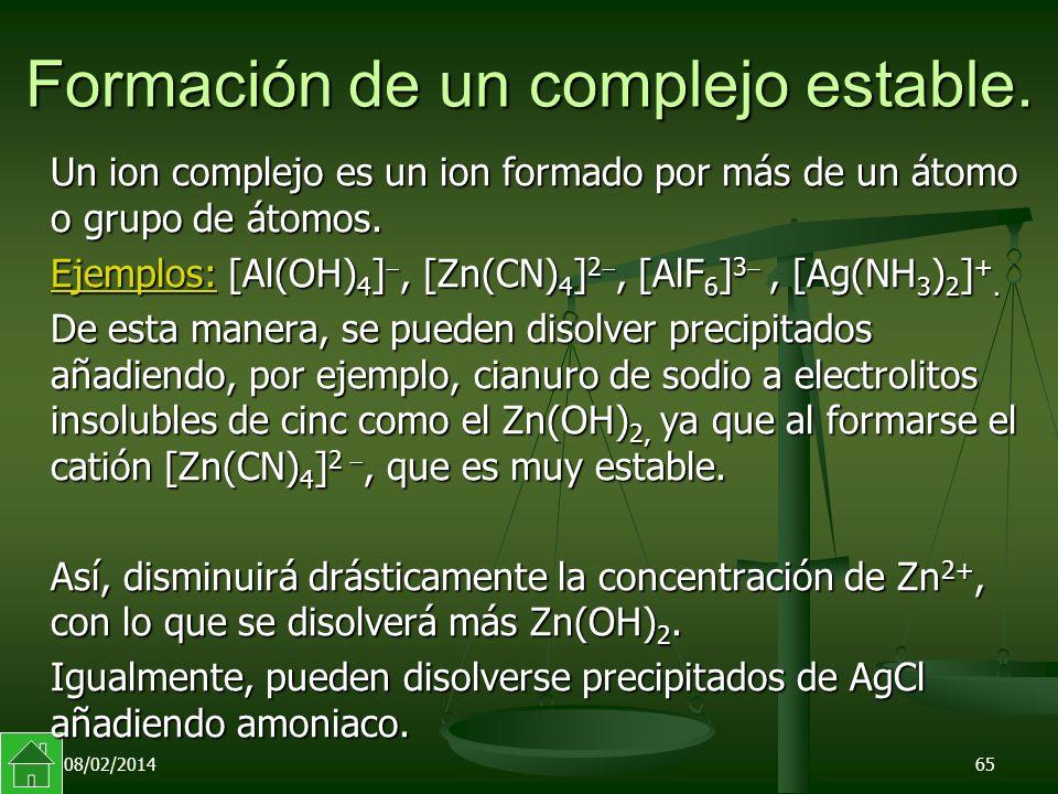 08/02/201465 Formación de un complejo estable.
