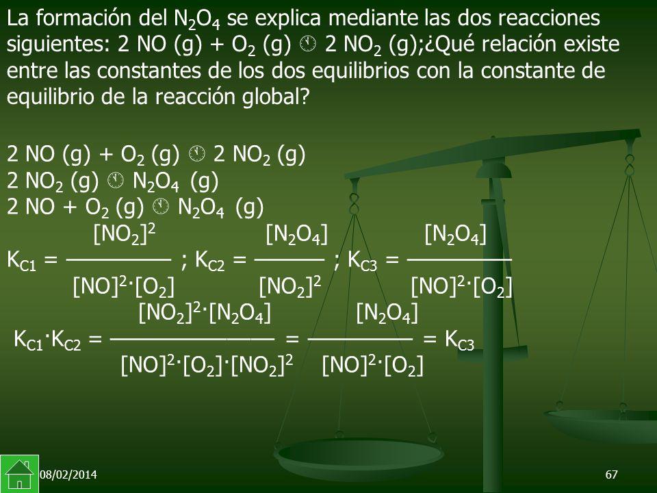 08/02/201467 La formación del N 2 O 4 se explica mediante las dos reacciones siguientes: 2 NO (g) + O 2 (g) 2 NO 2 (g);¿Qué relación existe entre las constantes de los dos equilibrios con la constante de equilibrio de la reacción global.