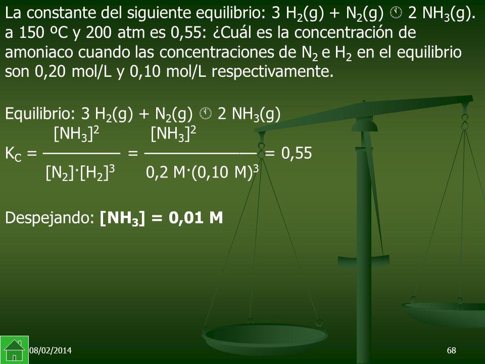 08/02/201468 La constante del siguiente equilibrio: 3 H 2 (g) + N 2 (g) 2 NH 3 (g).