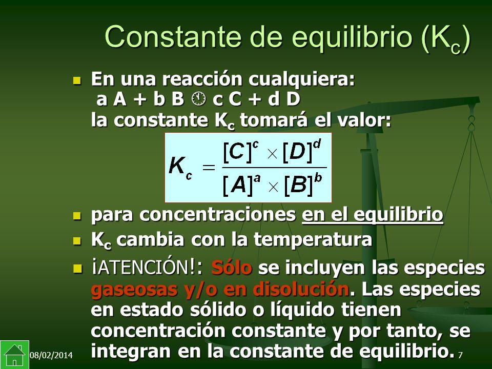 08/02/20147 Constante de equilibrio (K c ) En una reacción cualquiera: a A + b B c C + d D la constante K c tomará el valor: En una reacción cualquiera: a A + b B c C + d D la constante K c tomará el valor: para concentraciones en el equilibrio para concentraciones en el equilibrio K c cambia con la temperatura K c cambia con la temperatura ¡ ATENCIÓN !: Sólo se incluyen las especies gaseosas y/o en disolución.