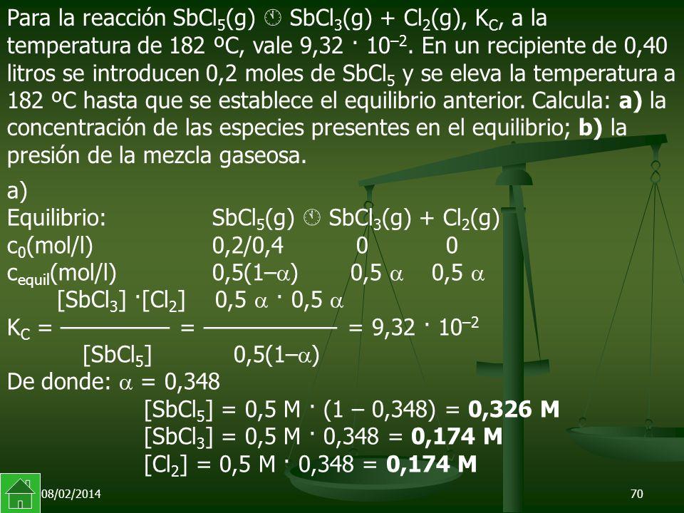 08/02/201470 a) Equilibrio:SbCl 5 (g) SbCl 3 (g) + Cl 2 (g) c 0 (mol/l)0,2/0,4 0 0 c equil (mol/l) 0,5(1– ) 0,5 0,5 [SbCl 3 ] ·[Cl 2 ] 0,5 · 0,5 K C = ––––––––– = ––––––––––– = 9,32 · 10 –2 [SbCl 5 ] 0,5(1– ) De donde: = 0,348 [SbCl 5 ] = 0,5 M · (1 – 0,348) = 0,326 M [SbCl 3 ] = 0,5 M · 0,348 = 0,174 M [Cl 2 ] = 0,5 M · 0,348 = 0,174 M Para la reacción SbCl 5 (g) SbCl 3 (g) + Cl 2 (g), K C, a la temperatura de 182 ºC, vale 9,32 · 10 –2.