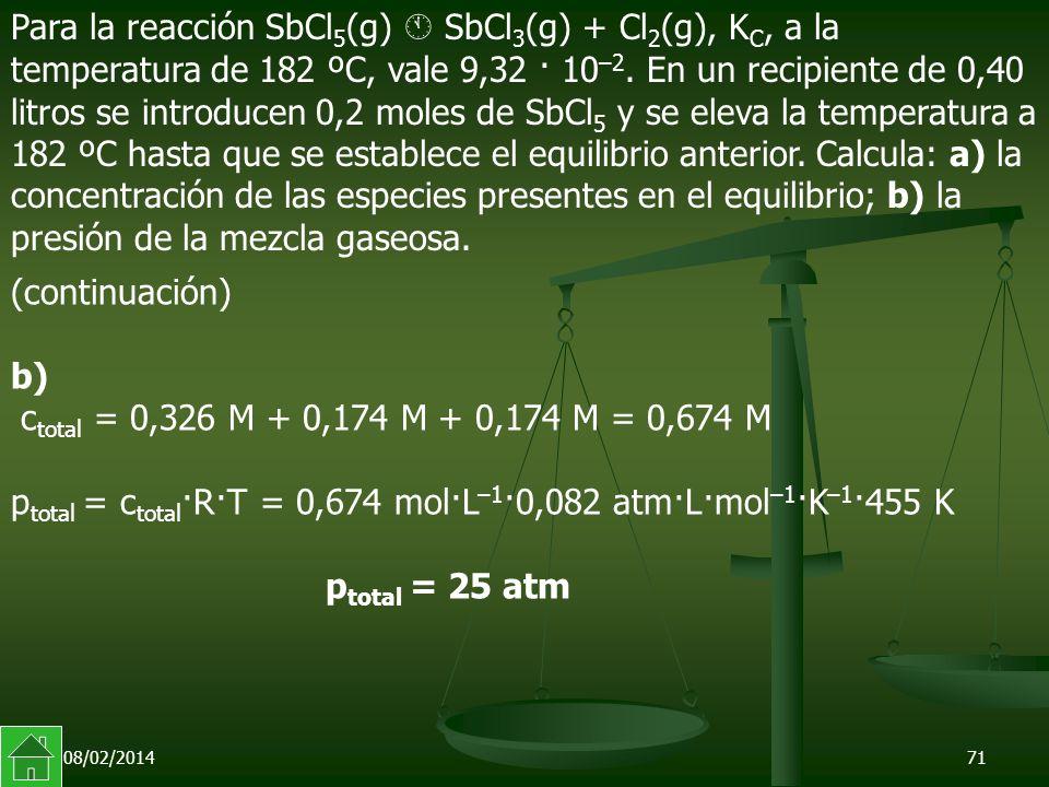 08/02/201471 (continuación) b) c total = 0,326 M + 0,174 M + 0,174 M = 0,674 M p total = c total ·R·T = 0,674 mol·L –1 ·0,082 atm·L·mol –1 ·K –1 ·455 K p total = 25 atm Para la reacción SbCl 5 (g) SbCl 3 (g) + Cl 2 (g), K C, a la temperatura de 182 ºC, vale 9,32 · 10 –2.