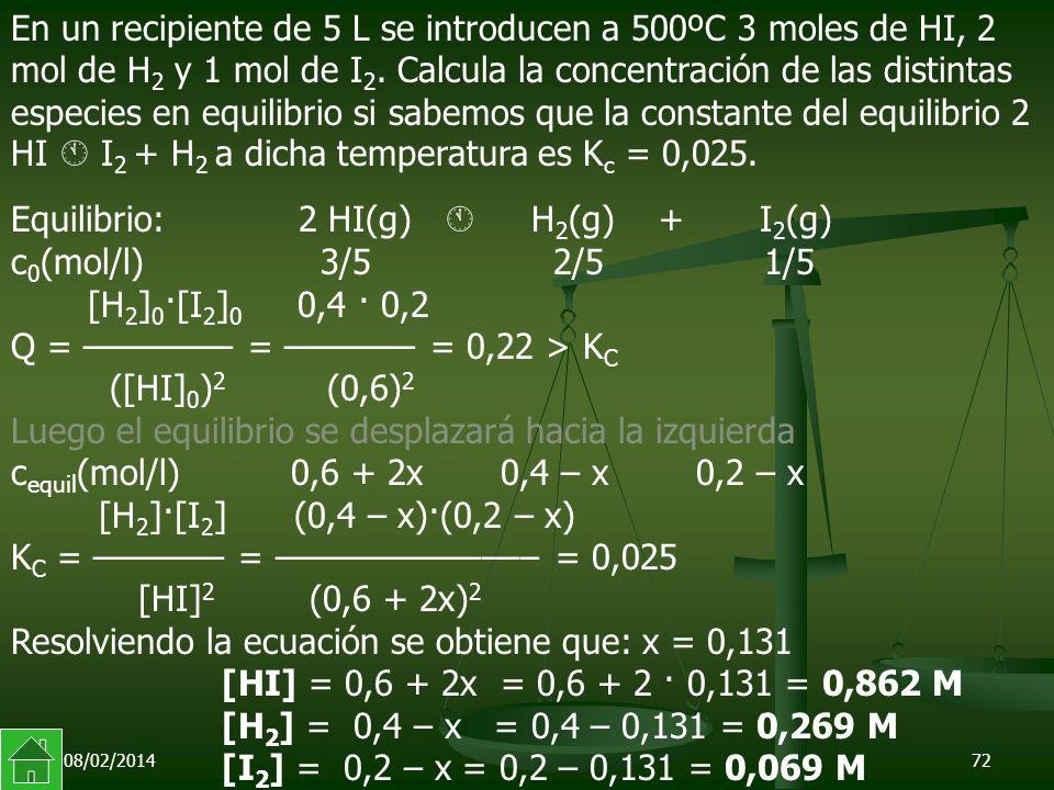 08/02/201472 Equilibrio: 2 HI(g) H 2 (g) + I 2 (g) c 0 (mol/l) 3/5 2/5 1/5 [H 2 ] 0 ·[I 2 ] 0 0,4 · 0,2 Q = –––––––– = ––––––– = 0,22 > K C ([HI] 0 ) 2 (0,6) 2 Luego el equilibrio se desplazará hacia la izquierda c equil (mol/l) 0,6 + 2x 0,4 – x 0,2 – x [H 2 ]·[I 2 ] (0,4 – x)·(0,2 – x) K C = ––––––– = –––––––––––––– = 0,025 [HI] 2 (0,6 + 2x) 2 Resolviendo la ecuación se obtiene que: x = 0,131 [HI] = 0,6 + 2x = 0,6 + 2 · 0,131 = 0,862 M [H 2 ] = 0,4 – x = 0,4 – 0,131 = 0,269 M [I 2 ] = 0,2 – x = 0,2 – 0,131 = 0,069 M En un recipiente de 5 L se introducen a 500ºC 3 moles de HI, 2 mol de H 2 y 1 mol de I 2.