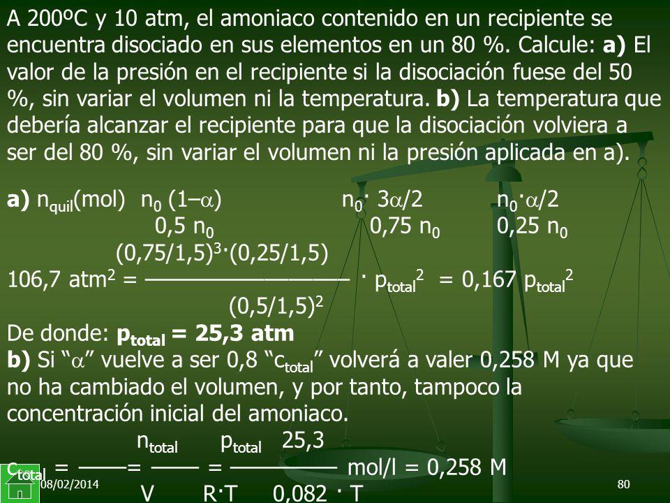 08/02/201480 a) n quil (mol) n 0 (1– )n 0 · 3 /2 n 0 · /2 0,5 n 0 0,75 n 0 0,25 n 0 (0,75/1,5) 3 ·(0,25/1,5) 106,7 atm 2 = ––––––––––––––––– · p total 2 = 0,167 p total 2 (0,5/1,5) 2 De donde: p total = 25,3 atm b) Si vuelve a ser 0,8 c total volverá a valer 0,258 M ya que no ha cambiado el volumen, y por tanto, tampoco la concentración inicial del amoniaco.