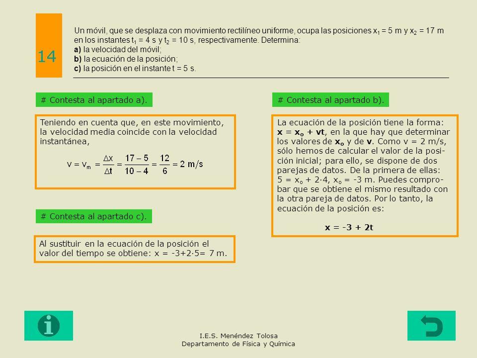 Un móvil, que se desplaza con movimiento rectilíneo uniforme, ocupa las posiciones x 1 = 5 m y x 2 = 17 m en los instantes t 1 = 4 s y t 2 = 10 s, res