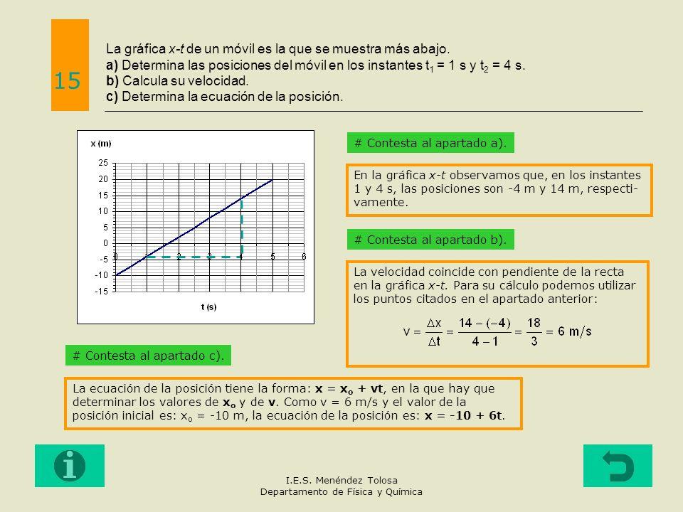 La gráfica x-t de un móvil es la que se muestra más abajo. a) Determina las posiciones del móvil en los instantes t 1 = 1 s y t 2 = 4 s. b) Calcula su