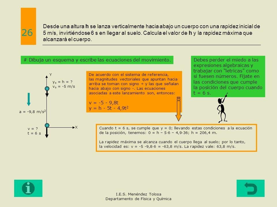 Desde una altura h se lanza verticalmente hacia abajo un cuerpo con una rapidez inicial de 5 m/s, invirtiéndose 6 s en llegar al suelo. Calcula el val