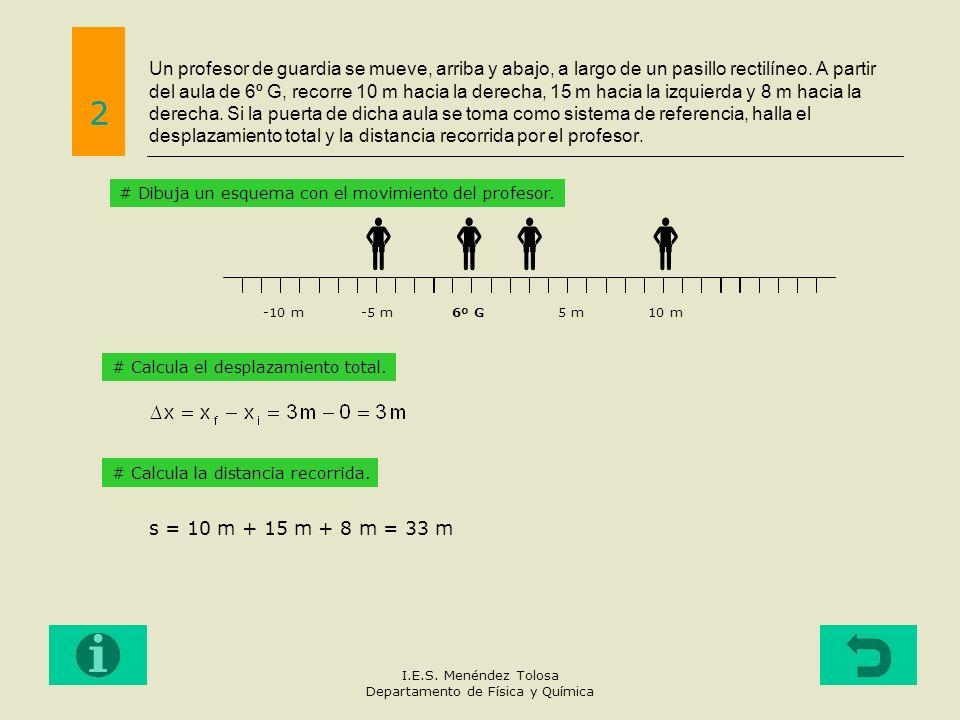Un profesor de guardia se mueve, arriba y abajo, a largo de un pasillo rectilíneo. A partir del aula de 6º G, recorre 10 m hacia la derecha, 15 m haci