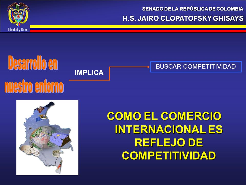 H.S. JAIRO CLOPATOFSKY GHISAYS SENADO DE LA REPÚBLICA DE COLOMBIA BUSCAR COMPETITIVIDAD IMPLICA COMO EL COMERCIO INTERNACIONAL ES REFLEJO DE COMPETITI