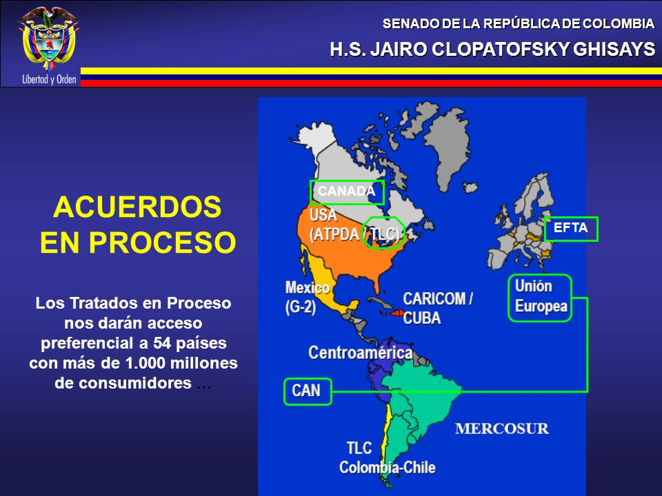 H.S. JAIRO CLOPATOFSKY GHISAYS SENADO DE LA REPÚBLICA DE COLOMBIA 18% ACUERDOS EN PROCESO EFTA CANADA Los Tratados en Proceso nos darán acceso prefere