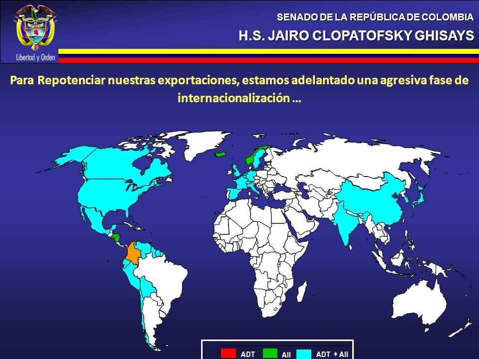 H.S. JAIRO CLOPATOFSKY GHISAYS SENADO DE LA REPÚBLICA DE COLOMBIA ADT AII ADT + AII Para Repotenciar nuestras exportaciones, estamos adelantado una ag