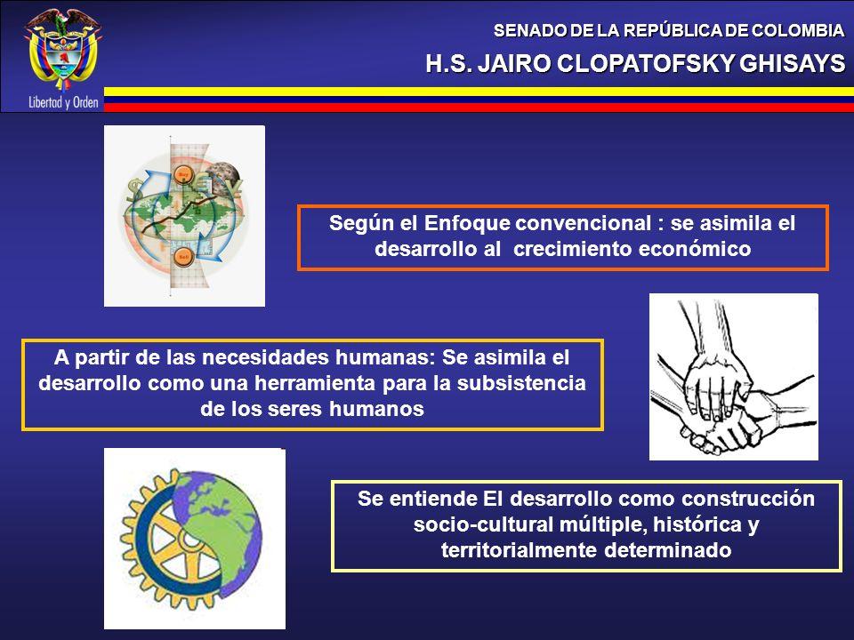 H.S. JAIRO CLOPATOFSKY GHISAYS SENADO DE LA REPÚBLICA DE COLOMBIA A partir de las necesidades humanas: Se asimila el desarrollo como una herramienta p