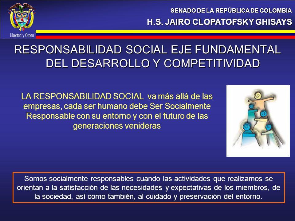 H.S. JAIRO CLOPATOFSKY GHISAYS SENADO DE LA REPÚBLICA DE COLOMBIA RESPONSABILIDAD SOCIAL EJE FUNDAMENTAL DEL DESARROLLO Y COMPETITIVIDAD LA RESPONSABI