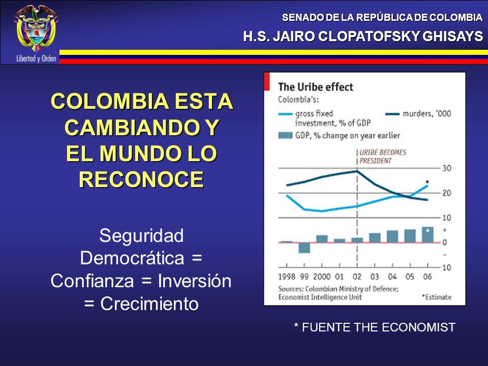 H.S. JAIRO CLOPATOFSKY GHISAYS SENADO DE LA REPÚBLICA DE COLOMBIA COLOMBIA ESTA CAMBIANDO Y EL MUNDO LO RECONOCE Seguridad Democrática = Confianza = I