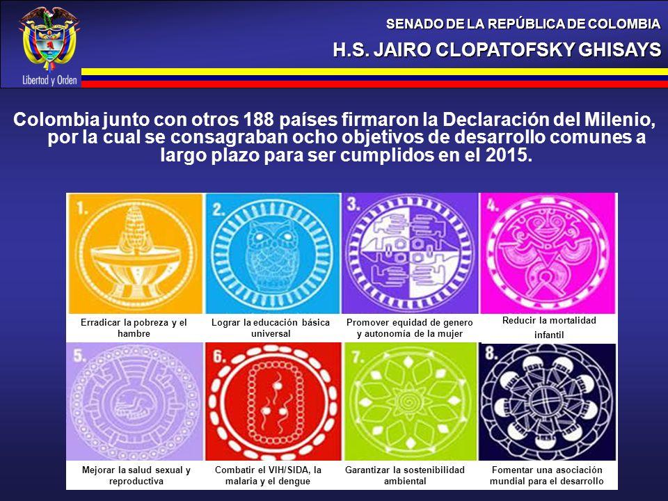 Colombia junto con otros 188 países firmaron la Declaración del Milenio, por la cual se consagraban ocho objetivos de desarrollo comunes a largo plazo