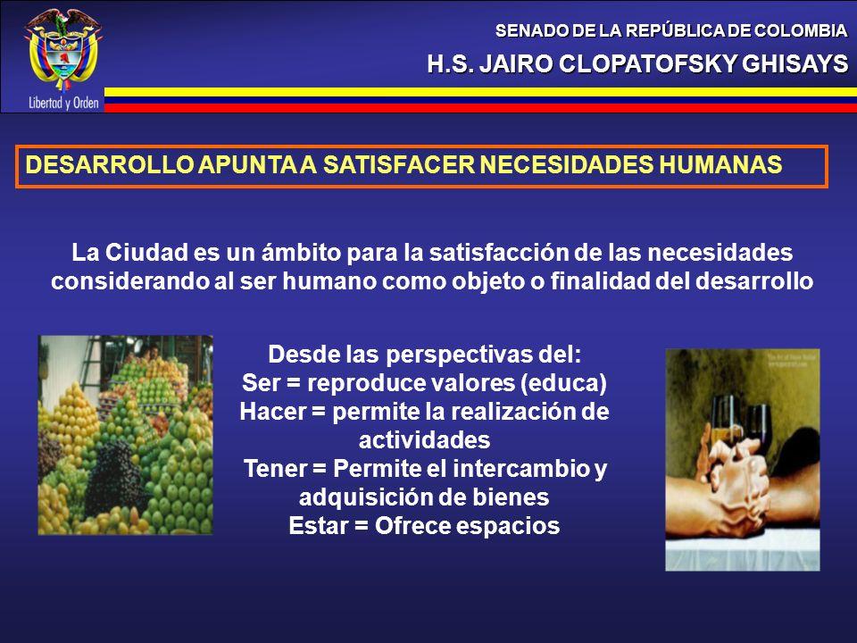 H.S. JAIRO CLOPATOFSKY GHISAYS SENADO DE LA REPÚBLICA DE COLOMBIA DESARROLLO APUNTA A SATISFACER NECESIDADES HUMANAS La Ciudad es un ámbito para la sa