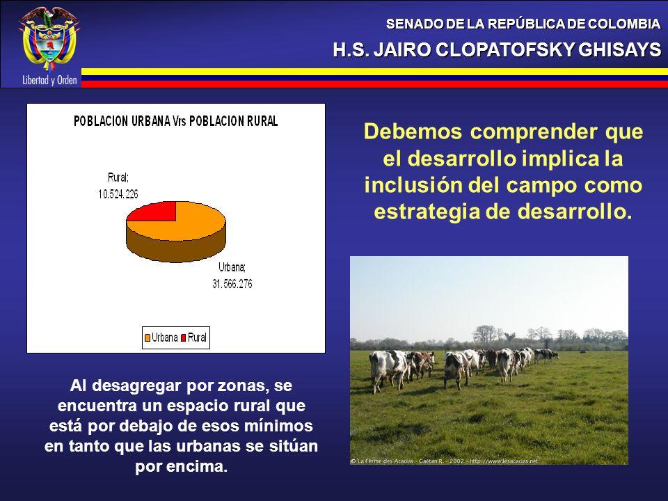 H.S. JAIRO CLOPATOFSKY GHISAYS SENADO DE LA REPÚBLICA DE COLOMBIA Debemos comprender que el desarrollo implica la inclusión del campo como estrategia