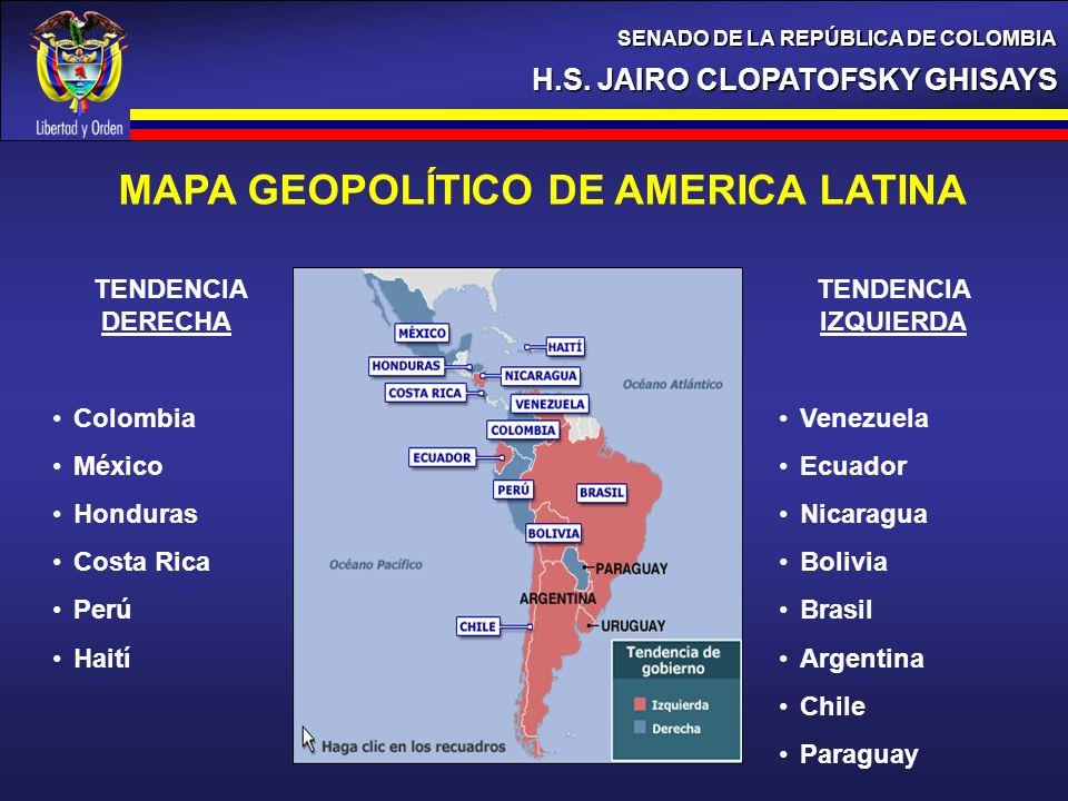 H.S. JAIRO CLOPATOFSKY GHISAYS SENADO DE LA REPÚBLICA DE COLOMBIA MAPA GEOPOLÍTICO DE AMERICA LATINA TENDENCIA DERECHA Colombia México Honduras Costa