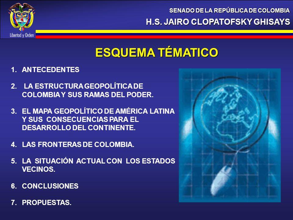 H.S. JAIRO CLOPATOFSKY GHISAYS SENADO DE LA REPÚBLICA DE COLOMBIA ESQUEMA TÉMATICO 1.ANTECEDENTES 2. LA ESTRUCTURA GEOPOLÍTICA DE COLOMBIA Y SUS RAMAS