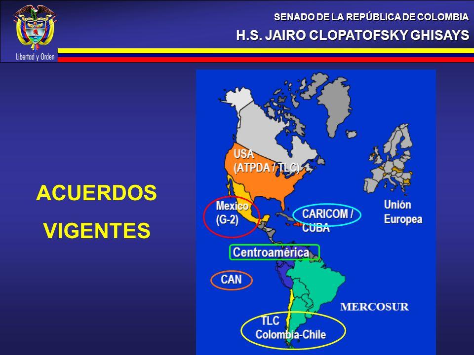 H.S. JAIRO CLOPATOFSKY GHISAYS SENADO DE LA REPÚBLICA DE COLOMBIA 18% ACUERDOS VIGENTES