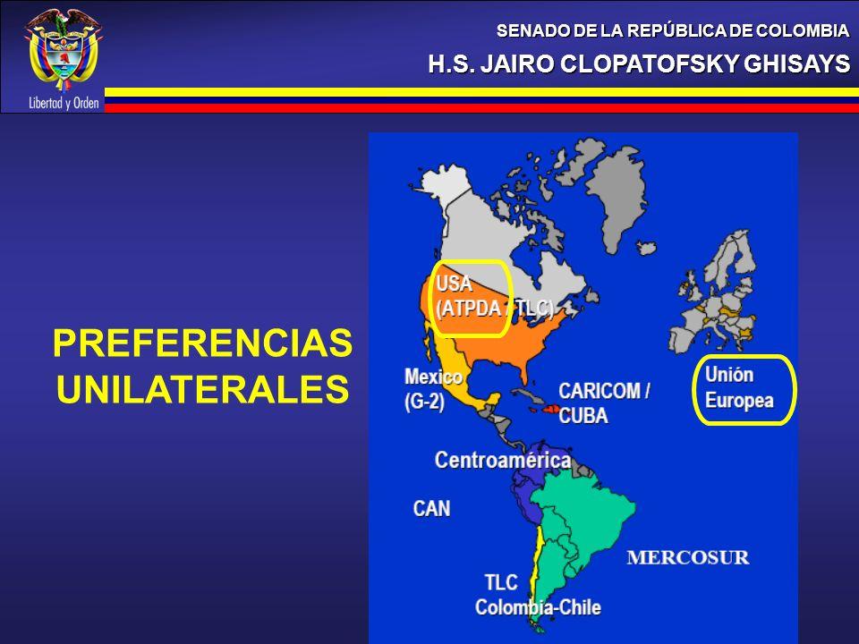 H.S. JAIRO CLOPATOFSKY GHISAYS SENADO DE LA REPÚBLICA DE COLOMBIA 18% PREFERENCIAS UNILATERALES