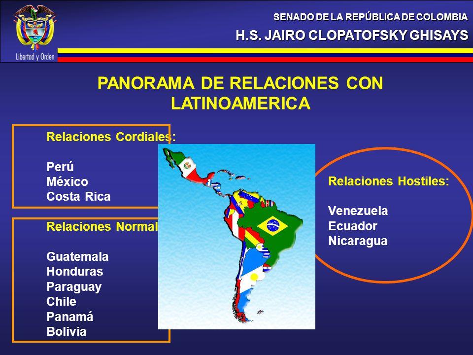 H.S. JAIRO CLOPATOFSKY GHISAYS SENADO DE LA REPÚBLICA DE COLOMBIA PANORAMA DE RELACIONES CON LATINOAMERICA Relaciones Cordiales: Perú México Costa Ric