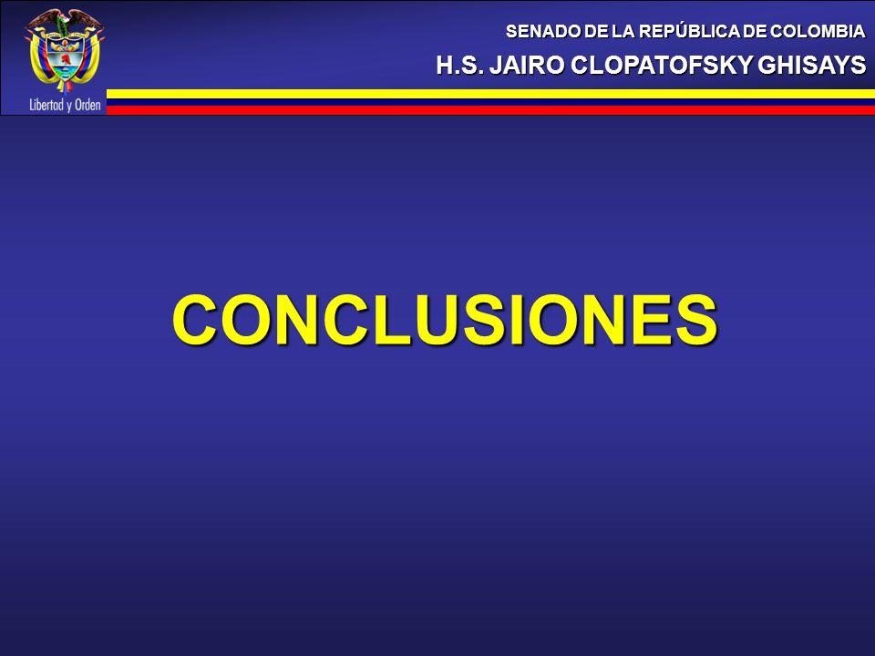 H.S. JAIRO CLOPATOFSKY GHISAYS SENADO DE LA REPÚBLICA DE COLOMBIA CONCLUSIONES