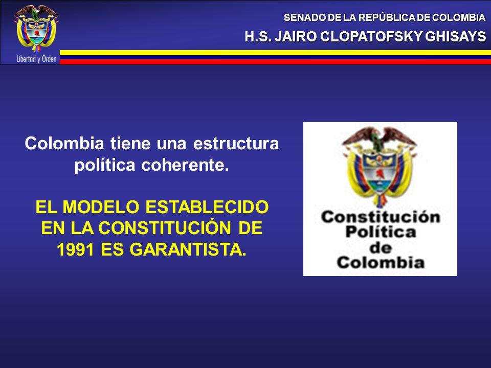 H.S. JAIRO CLOPATOFSKY GHISAYS SENADO DE LA REPÚBLICA DE COLOMBIA Colombia tiene una estructura política coherente. EL MODELO ESTABLECIDO EN LA CONSTI