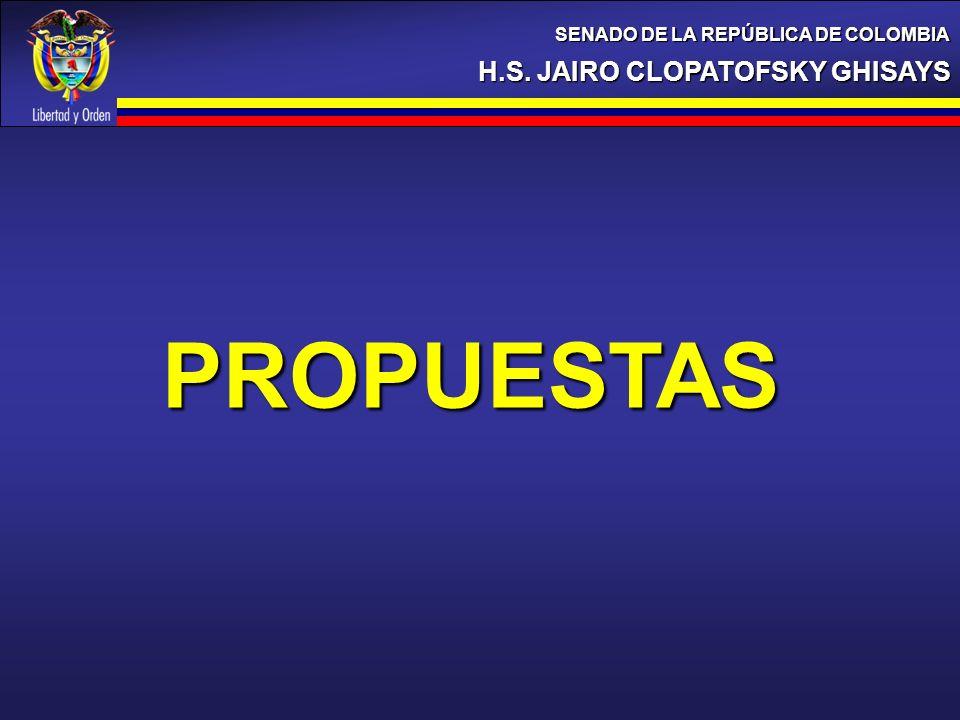 H.S. JAIRO CLOPATOFSKY GHISAYS SENADO DE LA REPÚBLICA DE COLOMBIA PROPUESTAS