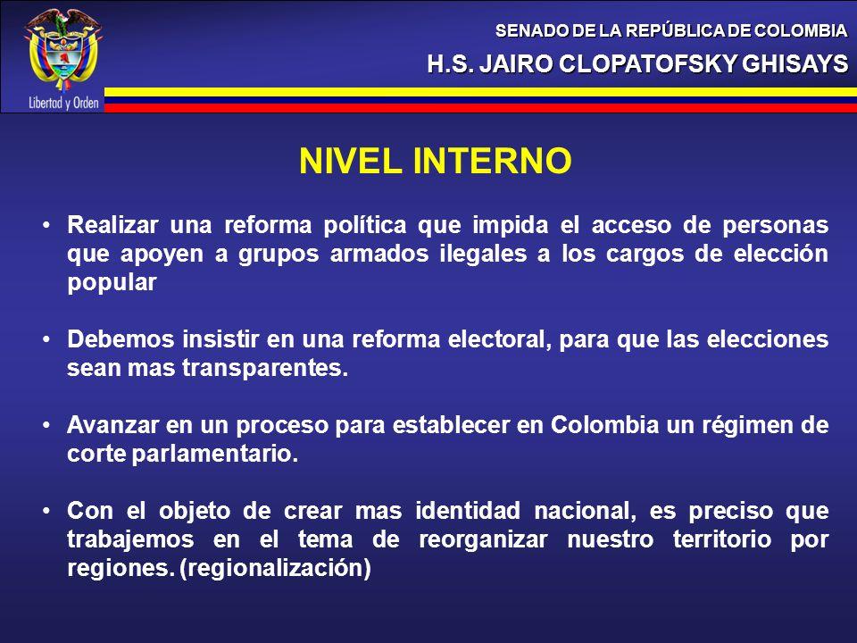 H.S. JAIRO CLOPATOFSKY GHISAYS SENADO DE LA REPÚBLICA DE COLOMBIA NIVEL INTERNO Realizar una reforma política que impida el acceso de personas que apo