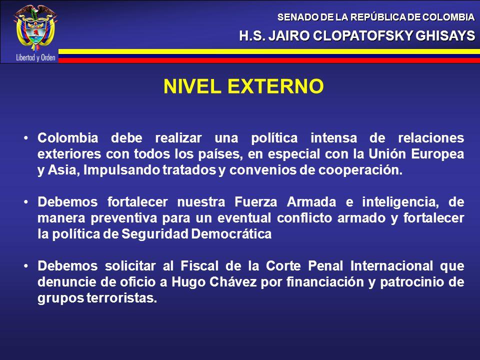 H.S. JAIRO CLOPATOFSKY GHISAYS SENADO DE LA REPÚBLICA DE COLOMBIA NIVEL EXTERNO Colombia debe realizar una política intensa de relaciones exteriores c