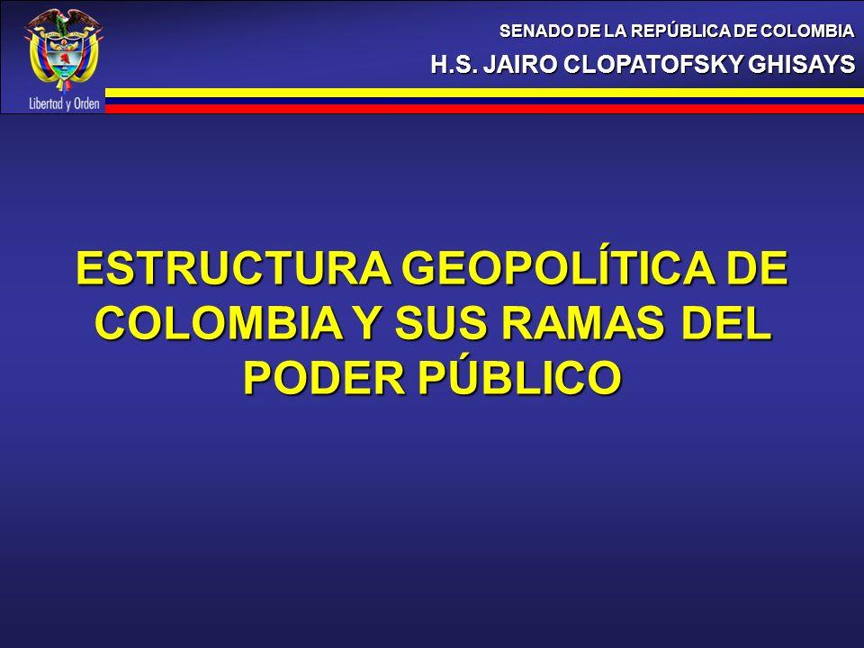 H.S. JAIRO CLOPATOFSKY GHISAYS SENADO DE LA REPÚBLICA DE COLOMBIA ESTRUCTURA GEOPOLÍTICA DE COLOMBIA Y SUS RAMAS DEL PODER PÚBLICO