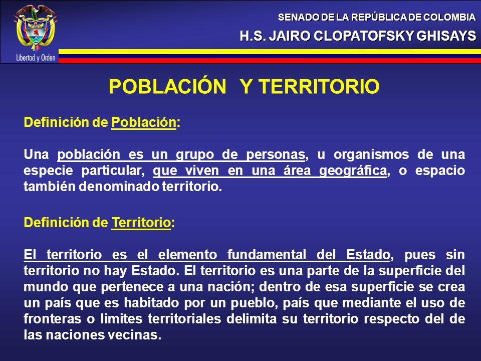 H.S. JAIRO CLOPATOFSKY GHISAYS SENADO DE LA REPÚBLICA DE COLOMBIA POBLACIÓN Y TERRITORIO Definición de Población: Una población es un grupo de persona